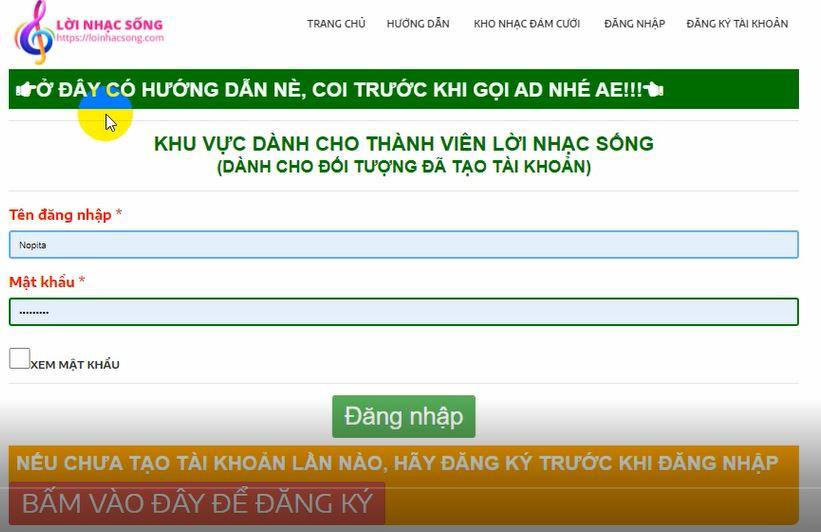 Hướng dẫn đăng ký và đăng nhập sử dụng Lời Nhạc Sống